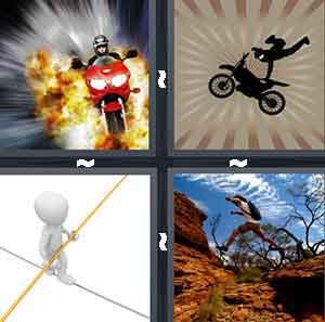 A person driving a motorcycle with fire behind them, A person doing a trick on a dirt bike, A person balancing on a wire, and A person  jumping from one cliff to another