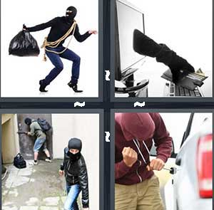 A man carrying a black garbage bag, A hand stealing cash, Robbers, and A man breaking into a car door