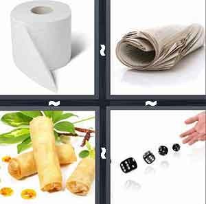 Roll of toilet paper, Egg rolls, Newspaper, and Roll the dice