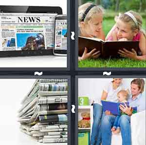 News, ipad, ipone, Stack of newspapers, Two girls reading a book, and Mother and father reading book, story time
