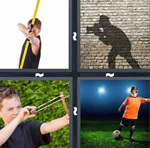 Bow and arrow, Shadow of photographer with camera, Sling shot, and Boy playing soccer