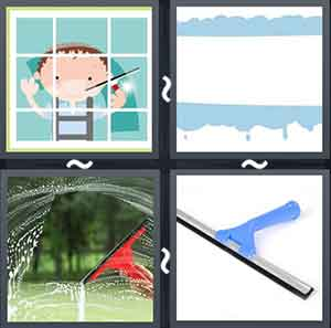 Cartoon cleaning windows, Cartoon image of water on the side of a road, Car windscreen being cleaned, and A squeegee