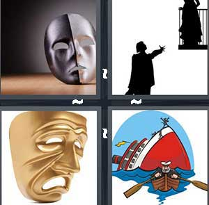 A silver drama mask, An act or play, A gold comedy mask, and A cartoon person in a canoe and sinking ship