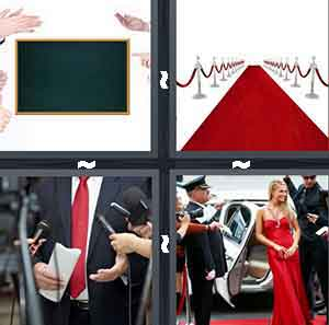 A movie screen with clapping hands around it, A red carpet with red rope around the sides, A person wearing a suit in front of microphones, and A woman walking out of a limo in a red dress