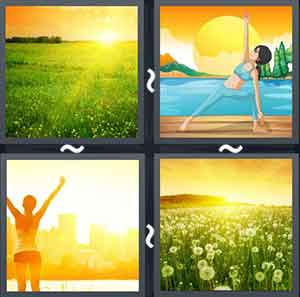 Sun rising in a green field, Cartoon woman exercising in the morning, Woman looking at the sun, and Sunrise in a flower field
