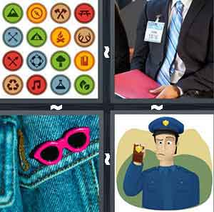 A group of dots with different symbols and colors, A person in a suit and blue tie holding a red folder, A blue background with pink sunglasses, and A cartoon police officer showing a gold object